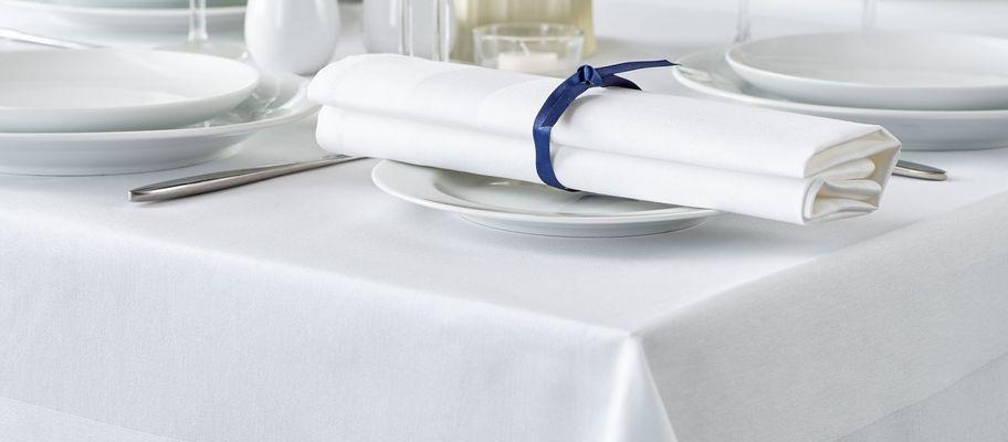 100% cotton white satin band tablecloth with napkin