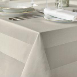 100% Mercerised Cotton Satin Band White Tablecloth