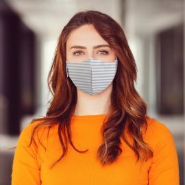 Martex Health Reusable Striped 3-Ply Face Mask With Antimicrobial Technology (10 Pack)