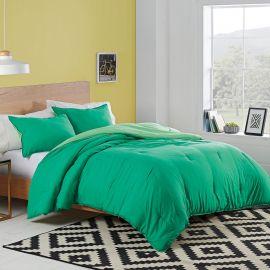 Utica Solid Green Twin Reversible Comforter Set