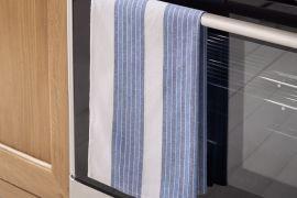 VE Stripe Tea Towel Blue
