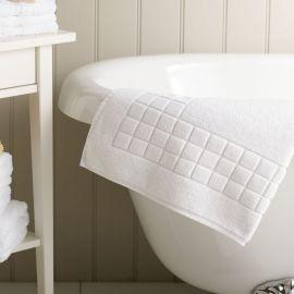 750 GSM 100% Cotton Check Design White Bath Mat *Clearance*