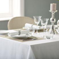 V Polyester Plain White Tablecloth