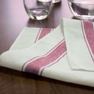 Glass cloths next to drinking glasses